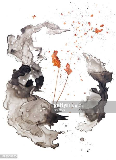 watercolor shapes and dried leaves - painted image stock illustrations