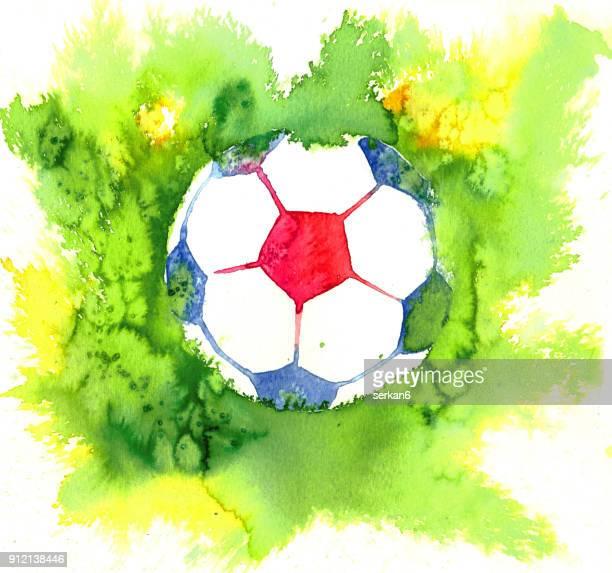 watercolor soccer - sports organization stock illustrations, clip art, cartoons, & icons