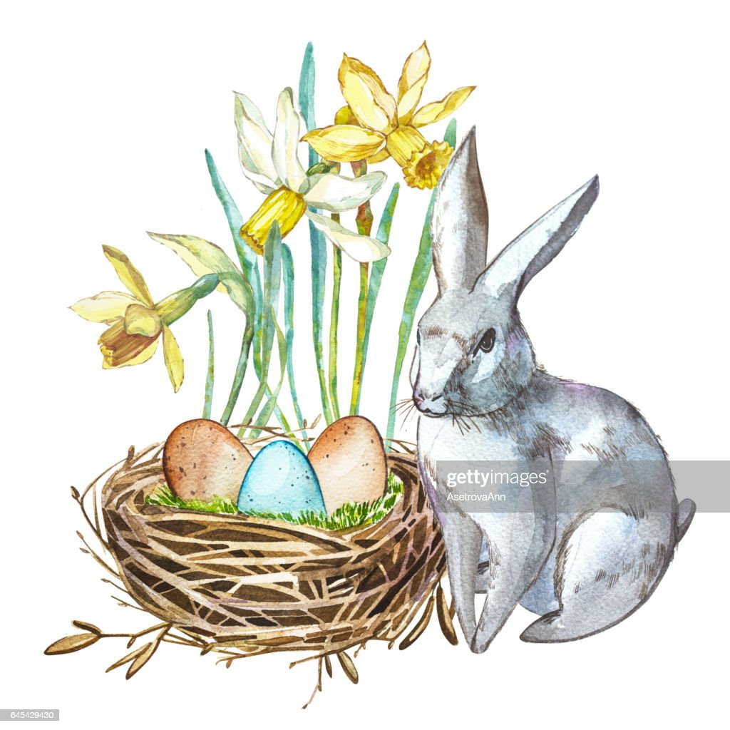 Watercolor Spring Flowers With Rabbit Bird Nest With Eggs Hand
