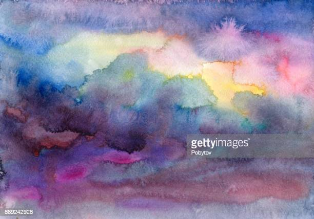 watercolor storm clouds - seascape stock illustrations, clip art, cartoons, & icons