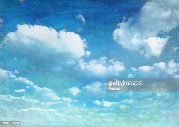 watercolor summer blue sky with clouds - overcast stock illustrations, clip art, cartoons, & icons
