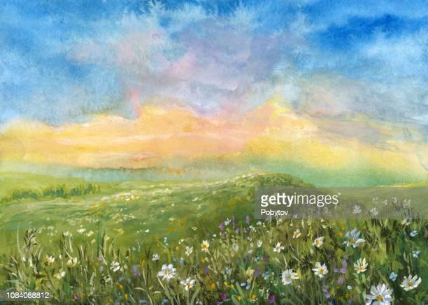 ilustrações, clipart, desenhos animados e ícones de paisagem de verão aquarela - flowerbed