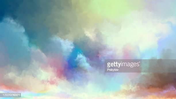 illustrazioni stock, clip art, cartoni animati e icone di tendenza di watercolor summer sky - paradiso