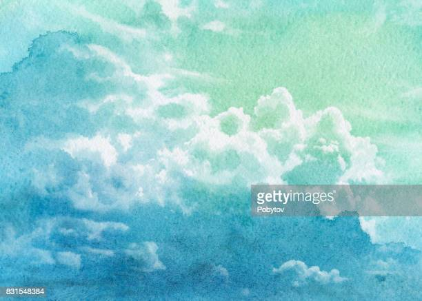 watercolor summer sky - overcast stock illustrations, clip art, cartoons, & icons