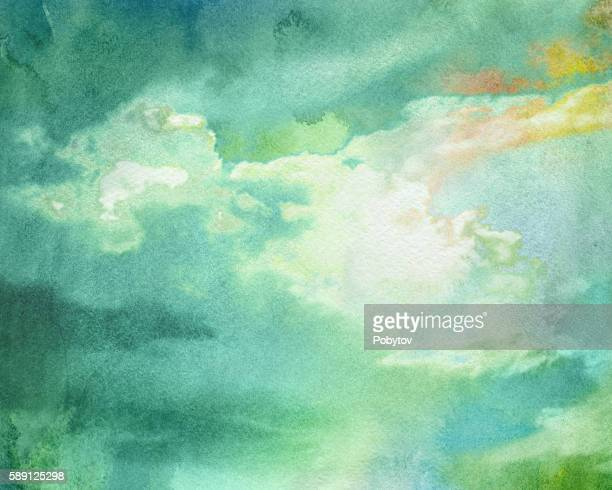 watercolor thundercloud - overcast stock illustrations, clip art, cartoons, & icons