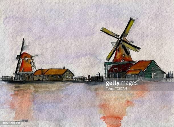 水彩伝統的なオランダ風車します。 - 風車塔点のイラスト素材/クリップアート素材/マンガ素材/アイコン素材