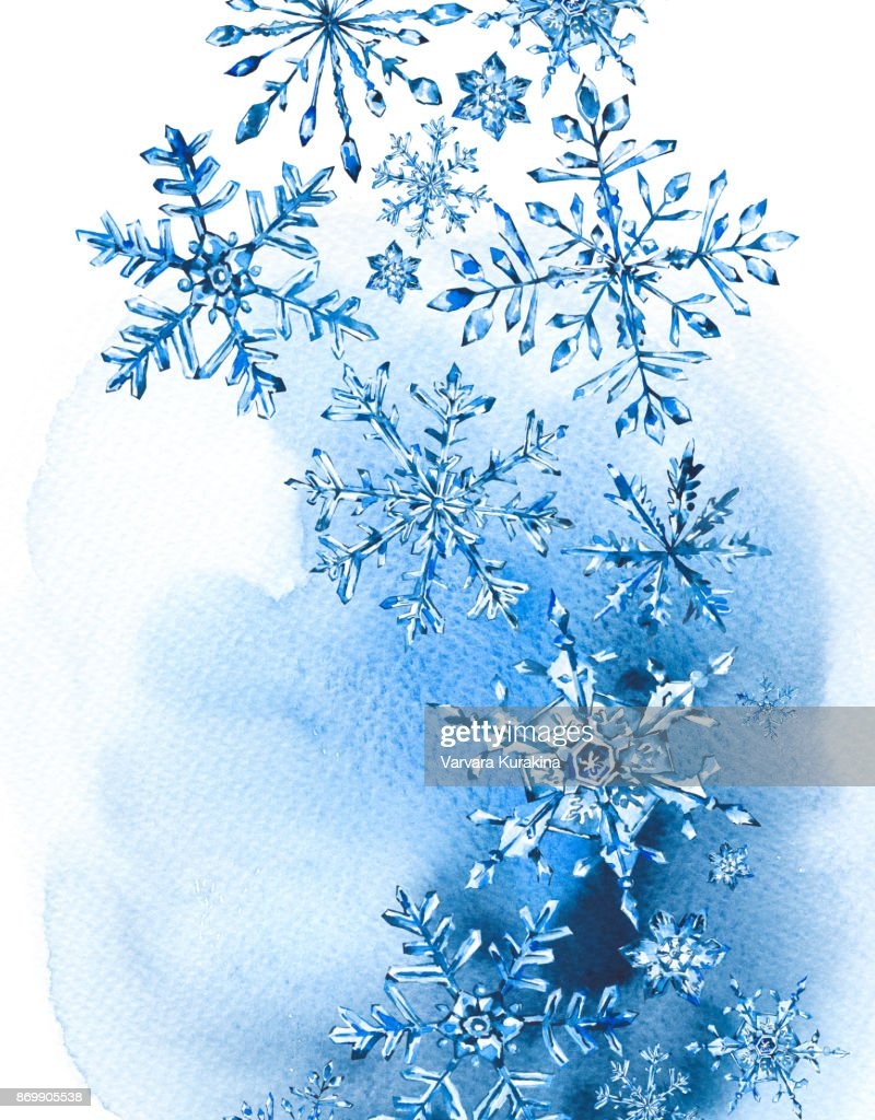 Watercolor Winter Greeting Card With Snowflakes Stock Illustration