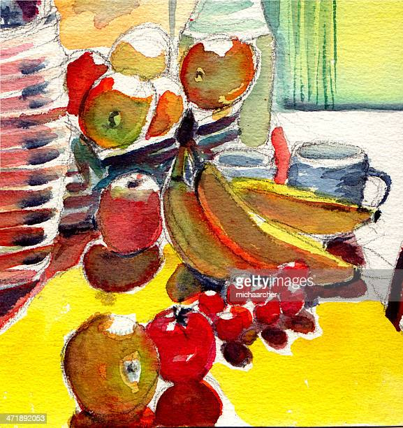 Watercolor with fruit
