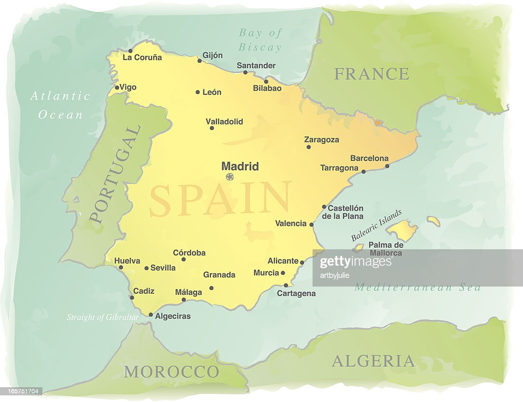 Watercolor-Style Vector Map of Spain : stock illustration