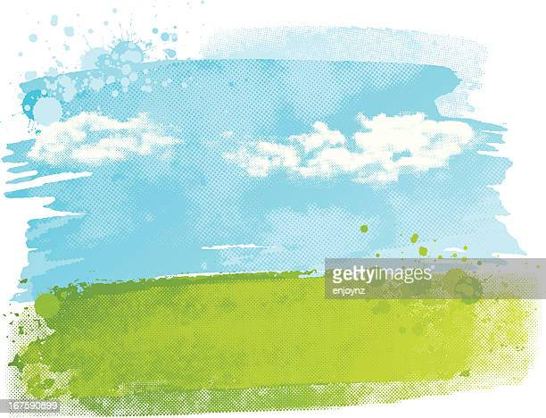 watercolour field - cloud sky stock illustrations