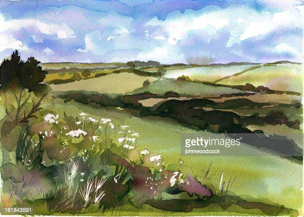 Watercolour of a rolling landscape