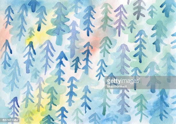 Watercolour painting of tree pattern