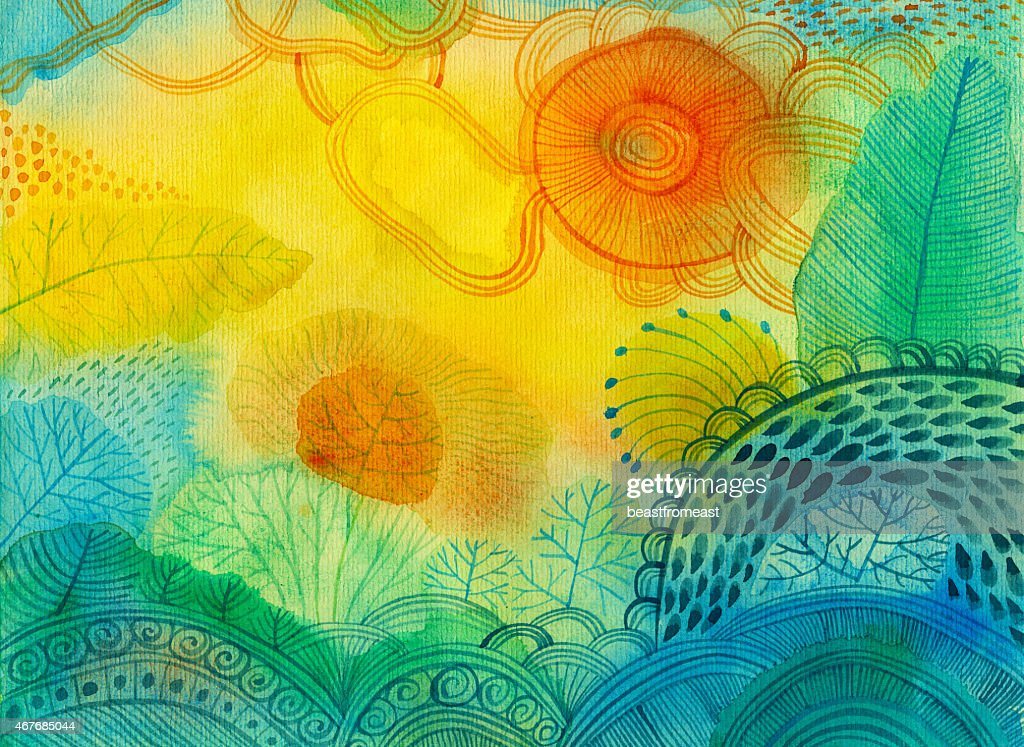 Watercolour panting of abstract landscape with different plants and trees : stock illustration