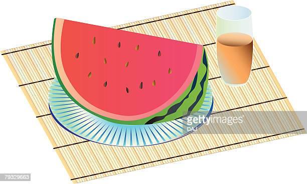 Watermelon, close-up, illustration