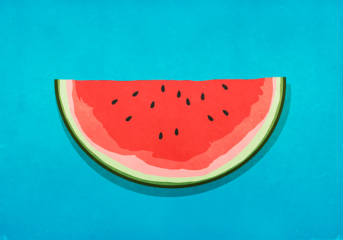 Watermelon slice on blue background - gettyimageskorea