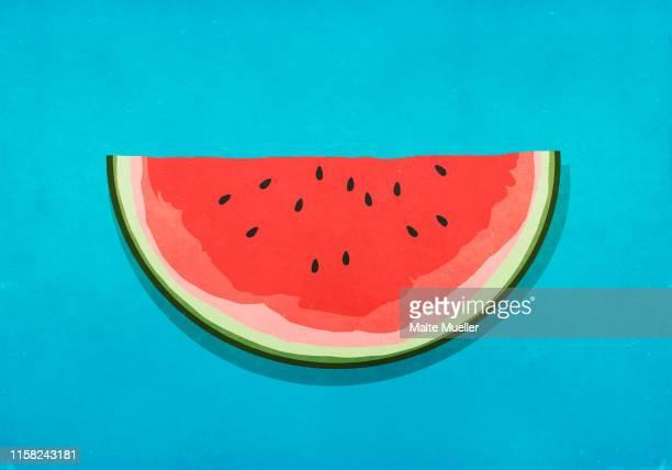 illustrations, cliparts, dessins animés et icônes de watermelon slice on blue background - pastèque