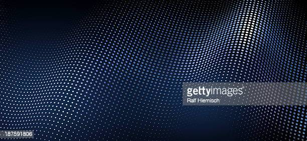 a wave pattern of shiny dots on a blue background - in a row stock illustrations