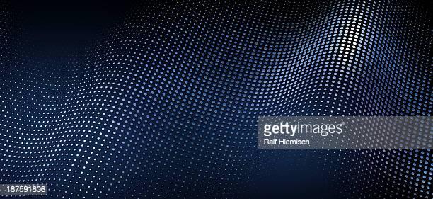 a wave pattern of shiny dots on a blue background - blue background stock illustrations