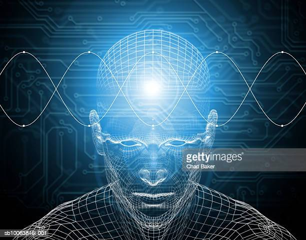 ilustraciones, imágenes clip art, dibujos animados e iconos de stock de waves traveling across wire frame of man's brain (digitally generated) - cerebro humano