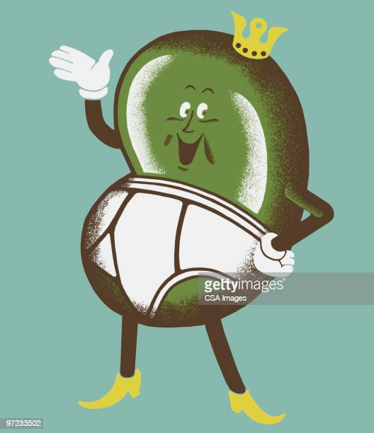 waving bean in underpants and crown - bean stock illustrations