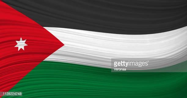 jordan waving flag - jordan middle east stock illustrations, clip art, cartoons, & icons