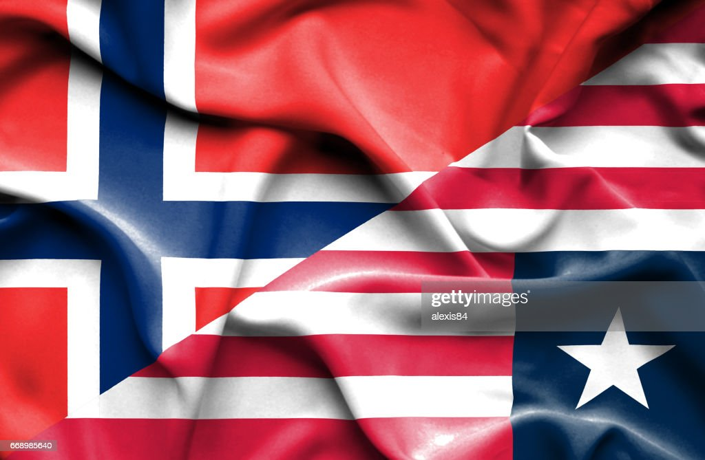 Waving Flag Of Liberia And Norway stock illustration - Getty