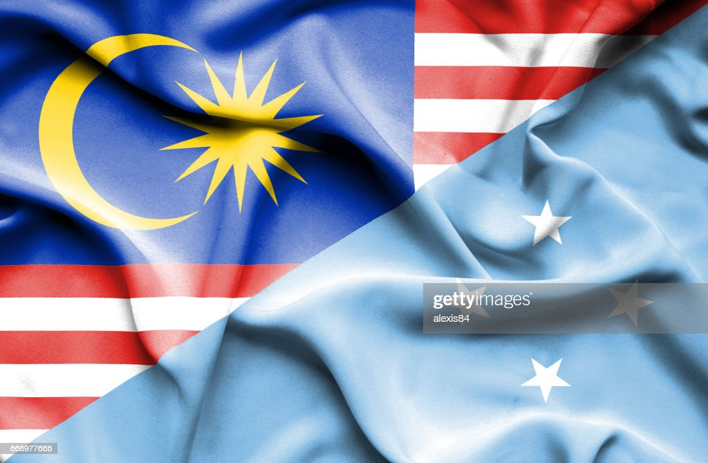 Waving Flag Of Micronesia And Malaysia Stock Illustration