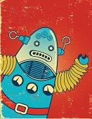 Waving Retro Cartoon Robot