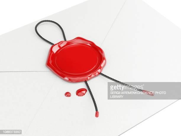 wax seal on envelope, illustration - template stock illustrations