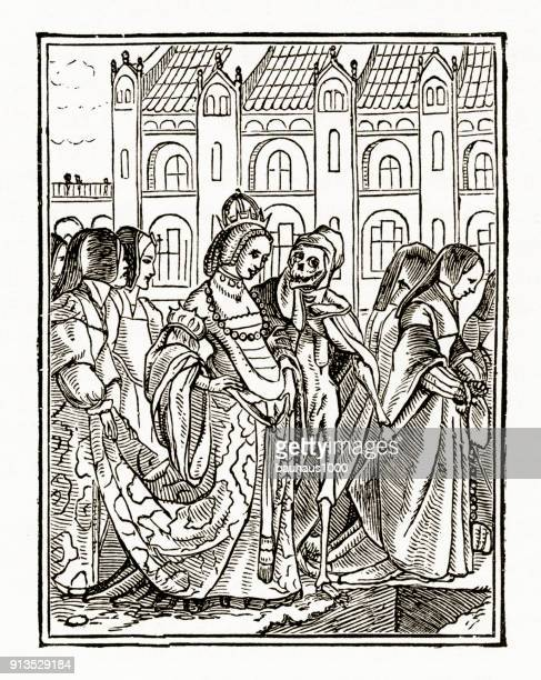 Rijke Dame tijd en Grim Reaper christelijke symboliek gravure