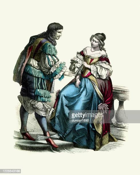 17世紀の裕福なオランダ人カップル、ファッション史 - 17世紀点のイラスト素材/クリップアート素材/マンガ素材/アイコン素材