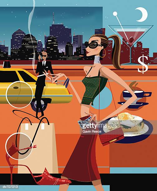 wealthy woman smoking with a man and a limousine in the background - yellow taxi stock illustrations, clip art, cartoons, & icons