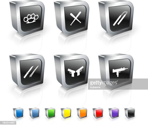 ilustraciones, imágenes clip art, dibujos animados e iconos de stock de armas 3d vector conjunto de iconos libres de derechos con borde de metal - submachine gun