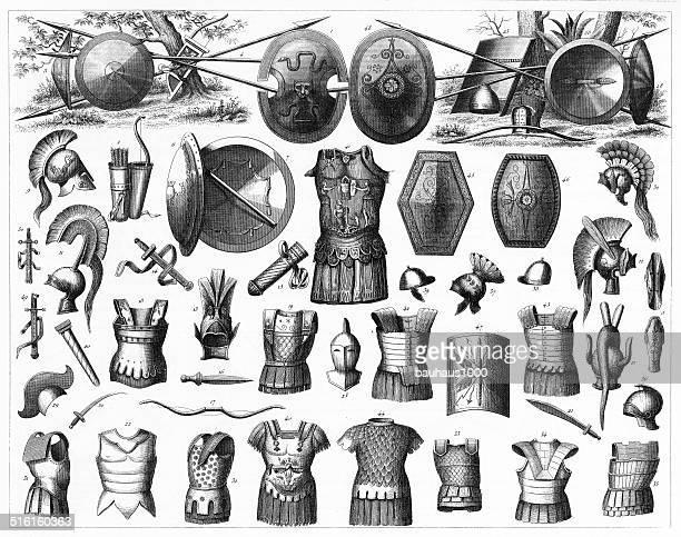 weapons of the greeks, etruscans and romans - etruscan stock illustrations