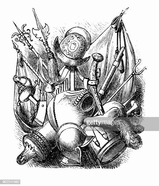 weapons of the time of the thirty years' war - musketeer stock illustrations, clip art, cartoons, & icons