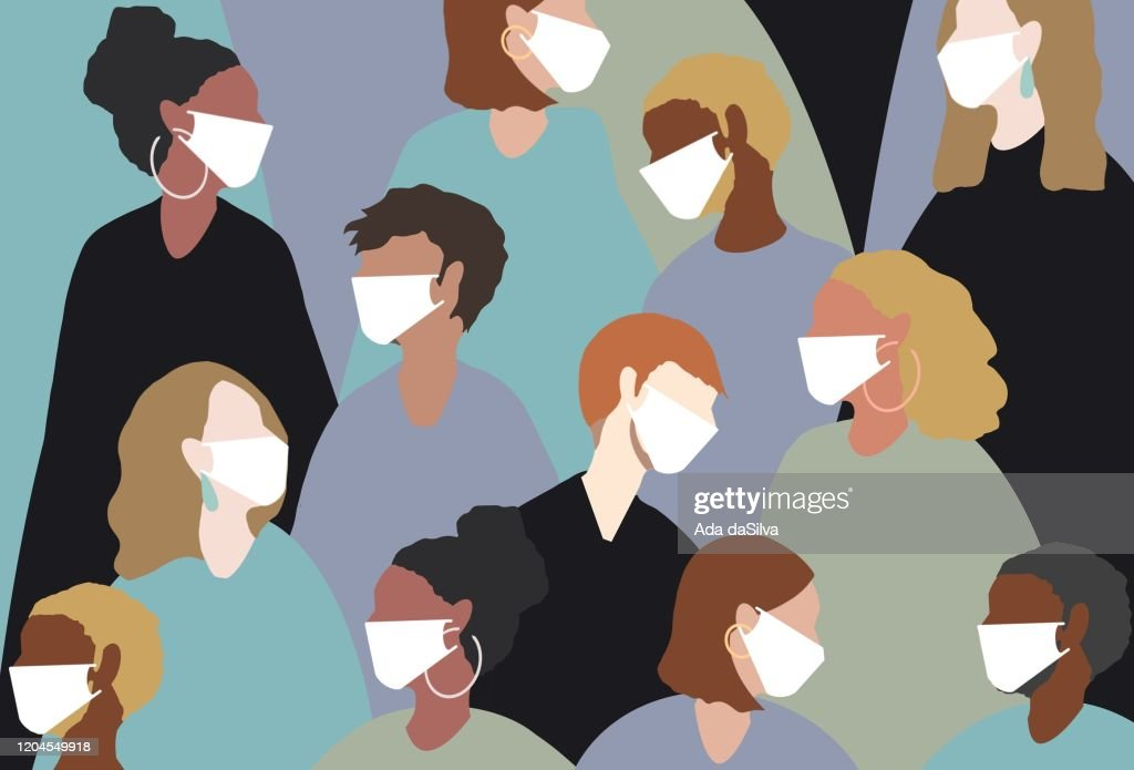 Wearing a medical face mask for winter viruses : stock illustration