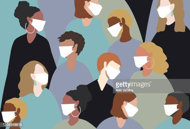 wearing a medical face mask for winter viruses - human settlement stock illustrations