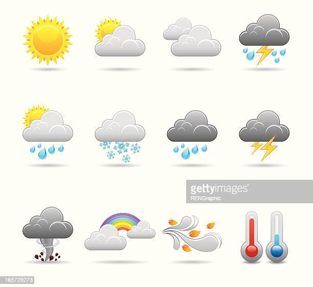 weather icon set | elegant series - overcast stock illustrations, clip art, cartoons, & icons