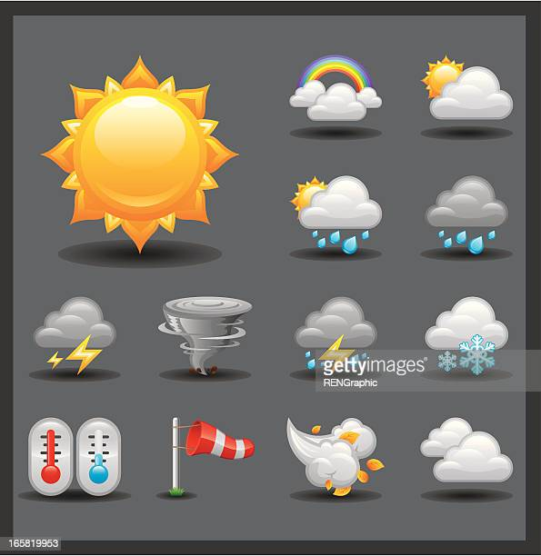 weather icon set | shiny series / dark - overcast stock illustrations, clip art, cartoons, & icons