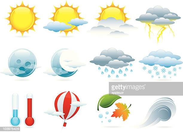 weather icons - overcast stock illustrations, clip art, cartoons, & icons