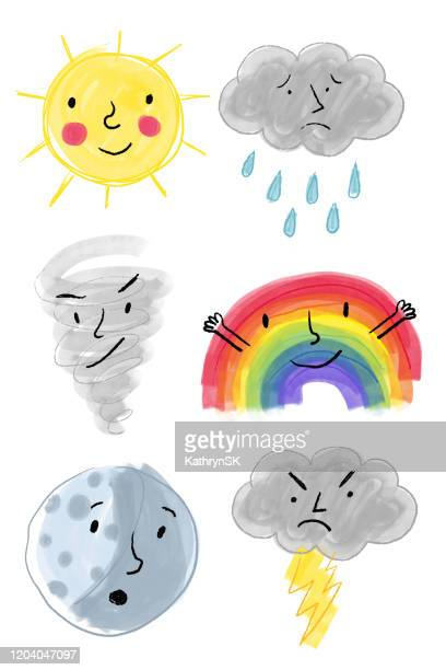 weather icons with faces drawing - naughty america stock illustrations
