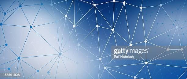 ilustrações de stock, clip art, desenhos animados e ícones de a web of dots connected by lines against a blue background - panorâmica