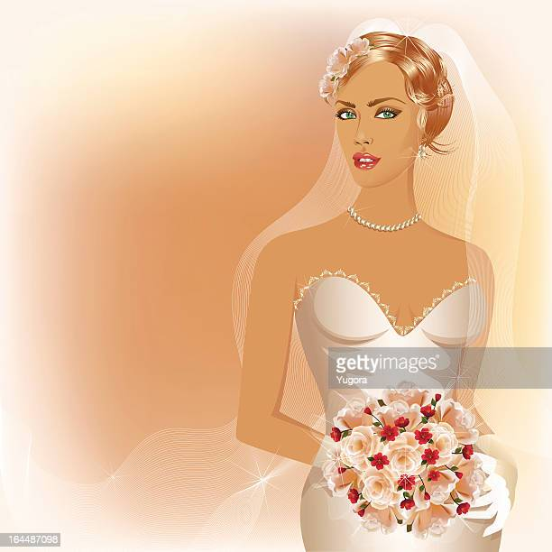 Wedding background with glamour bride holding  boouquet of roses