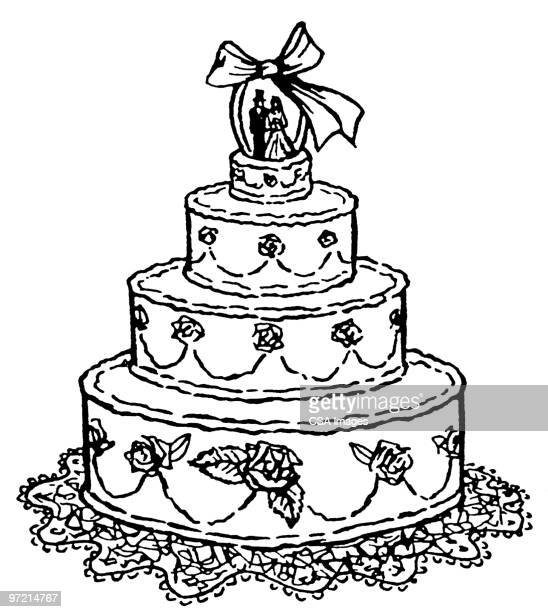 cartoon picture of a wedding cake wedding cake stock illustrations and getty images 12418