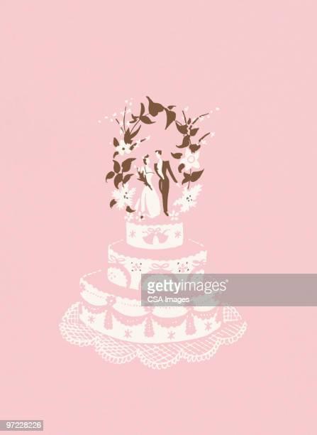 wedding cake - cake stock illustrations