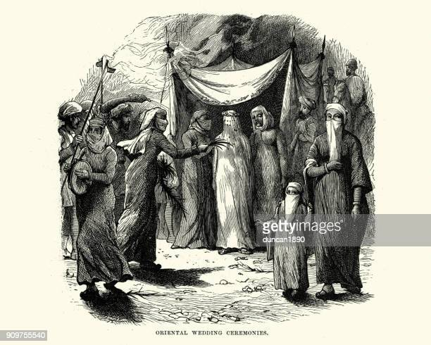 wedding ceremony in the middle east, 19th century - jordan middle east stock illustrations, clip art, cartoons, & icons