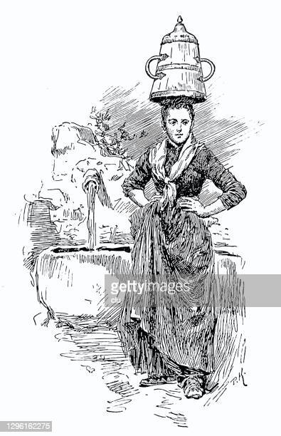 wedding customs in the french basque country, young woman carries a wooden jug on her head - en búsqueda stock illustrations