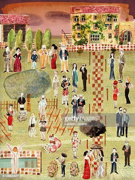 ilustraciones, imágenes clip art, dibujos animados e iconos de stock de wedding - pool party