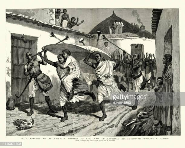 wedding in adowa, abyssinia 19th century - ethiopia stock illustrations, clip art, cartoons, & icons