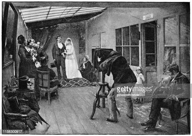 ilustrações de stock, clip art, desenhos animados e ícones de a wedding party at the photographer by pascal dagnan-bouveret - 19th century - maquina fotografica antiga